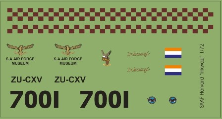 Decal SAAF Harvard Inkwazi 48 scale MAVDecals MAV-480173